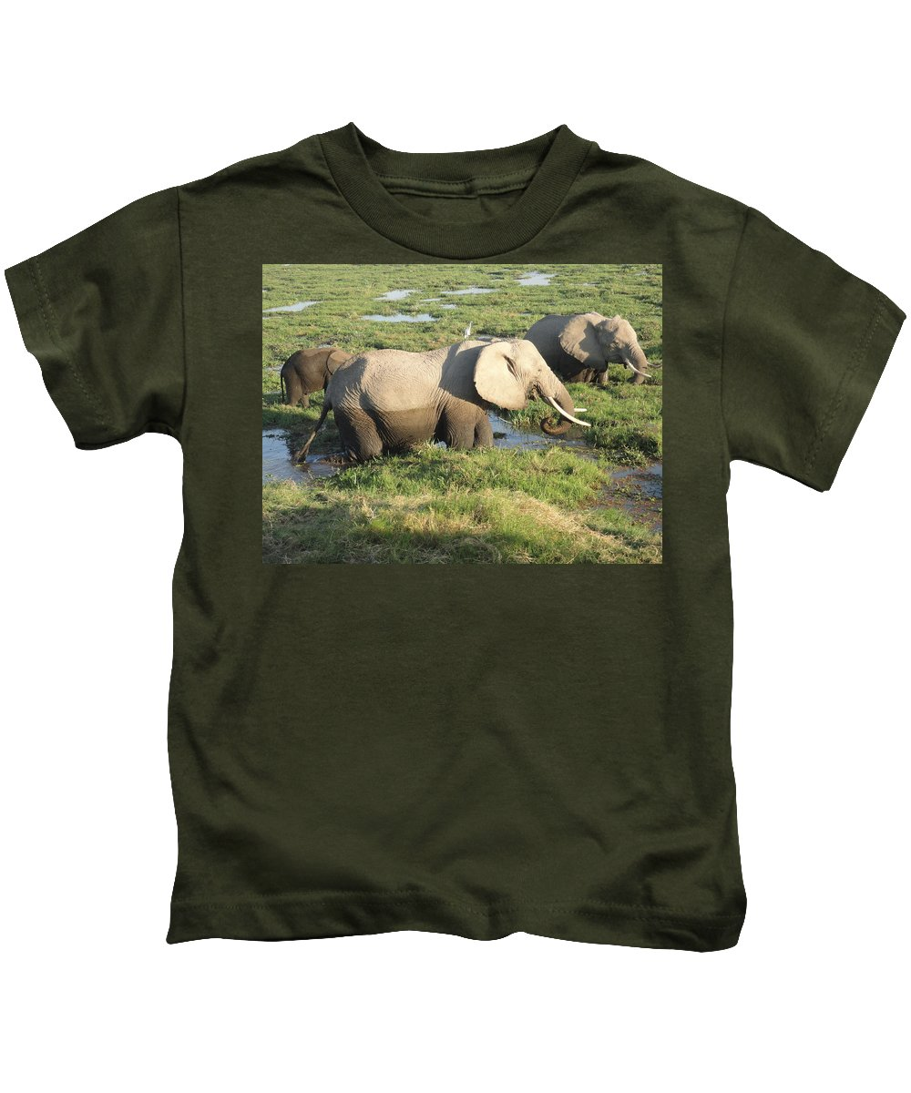 Elephant Kids T-Shirt featuring the photograph Elephant Mother And Calves by Serah Mbii