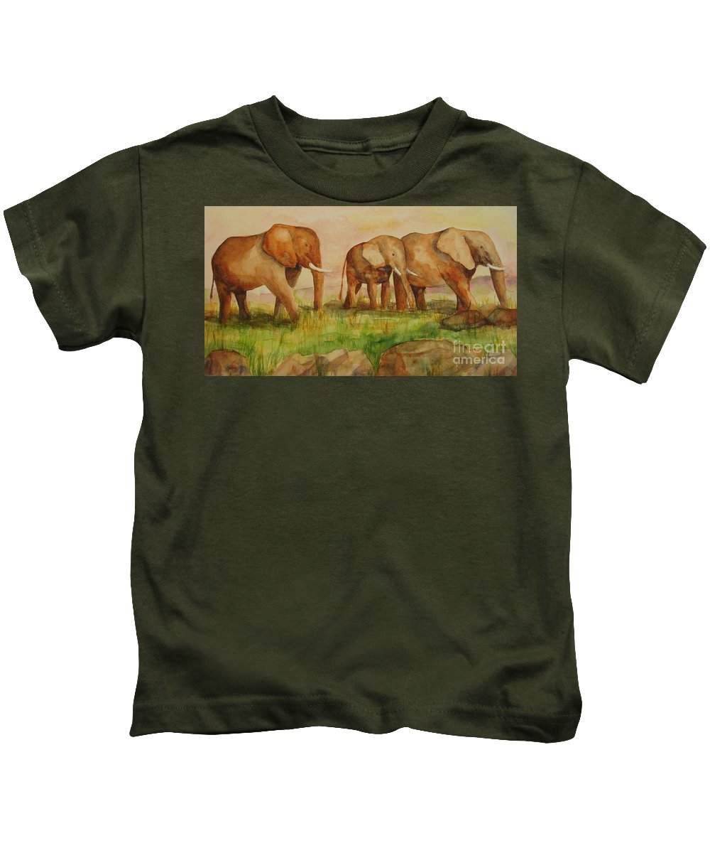 Elephant Kids T-Shirt featuring the painting Elephant Parade by Vicki Housel