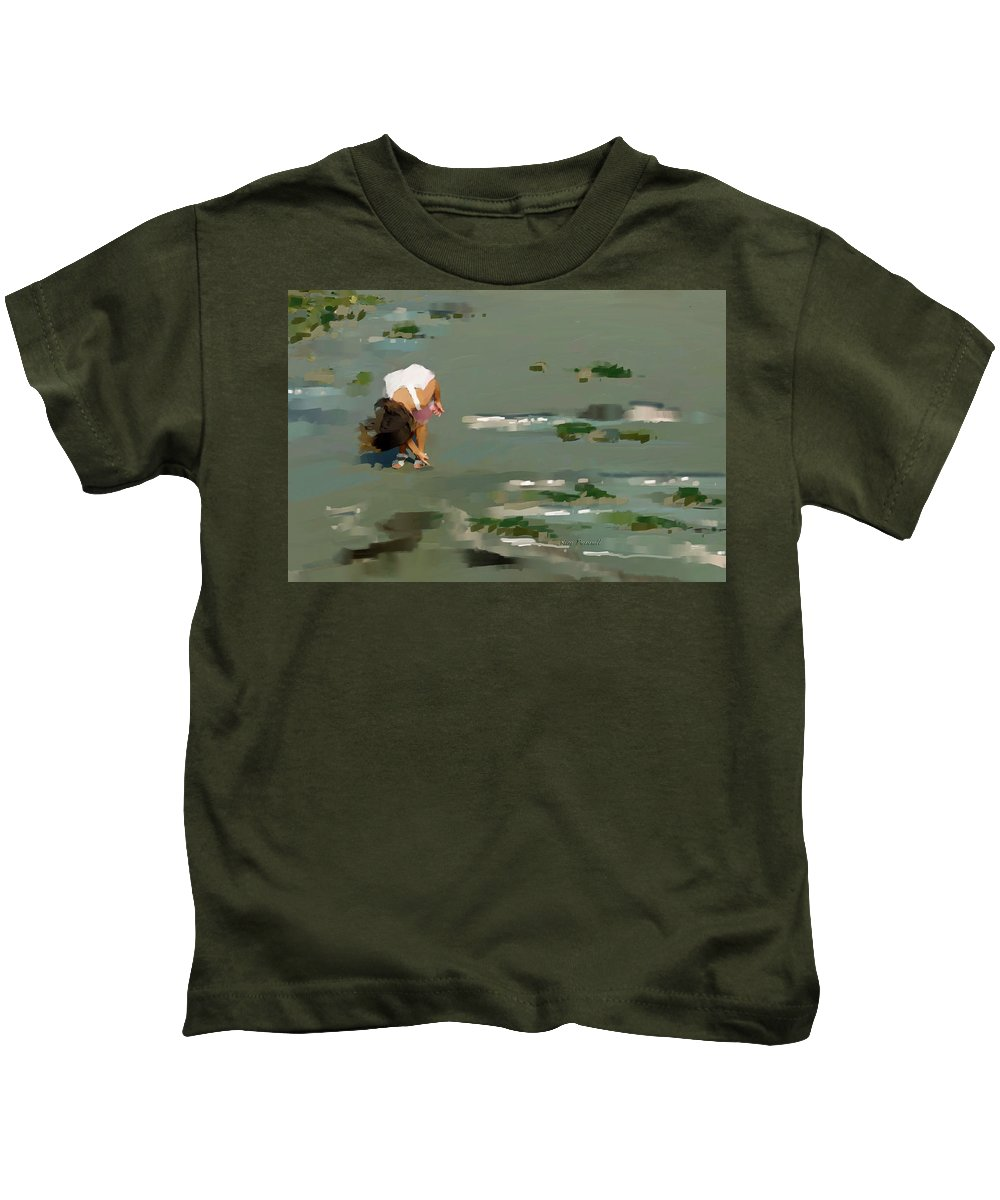 Northern France Kids T-Shirt featuring the painting Ellie At Wimereux,northern France by David Pennell