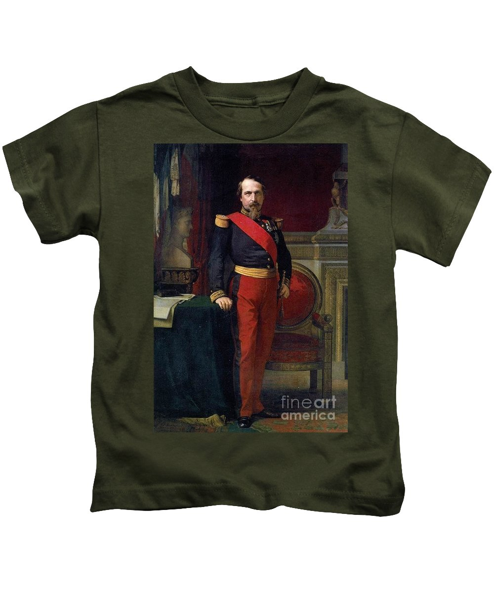 Hippolyte Flandrin - Napoléon Iii Kids T-Shirt featuring the painting Emperor Of France by MotionAge Designs