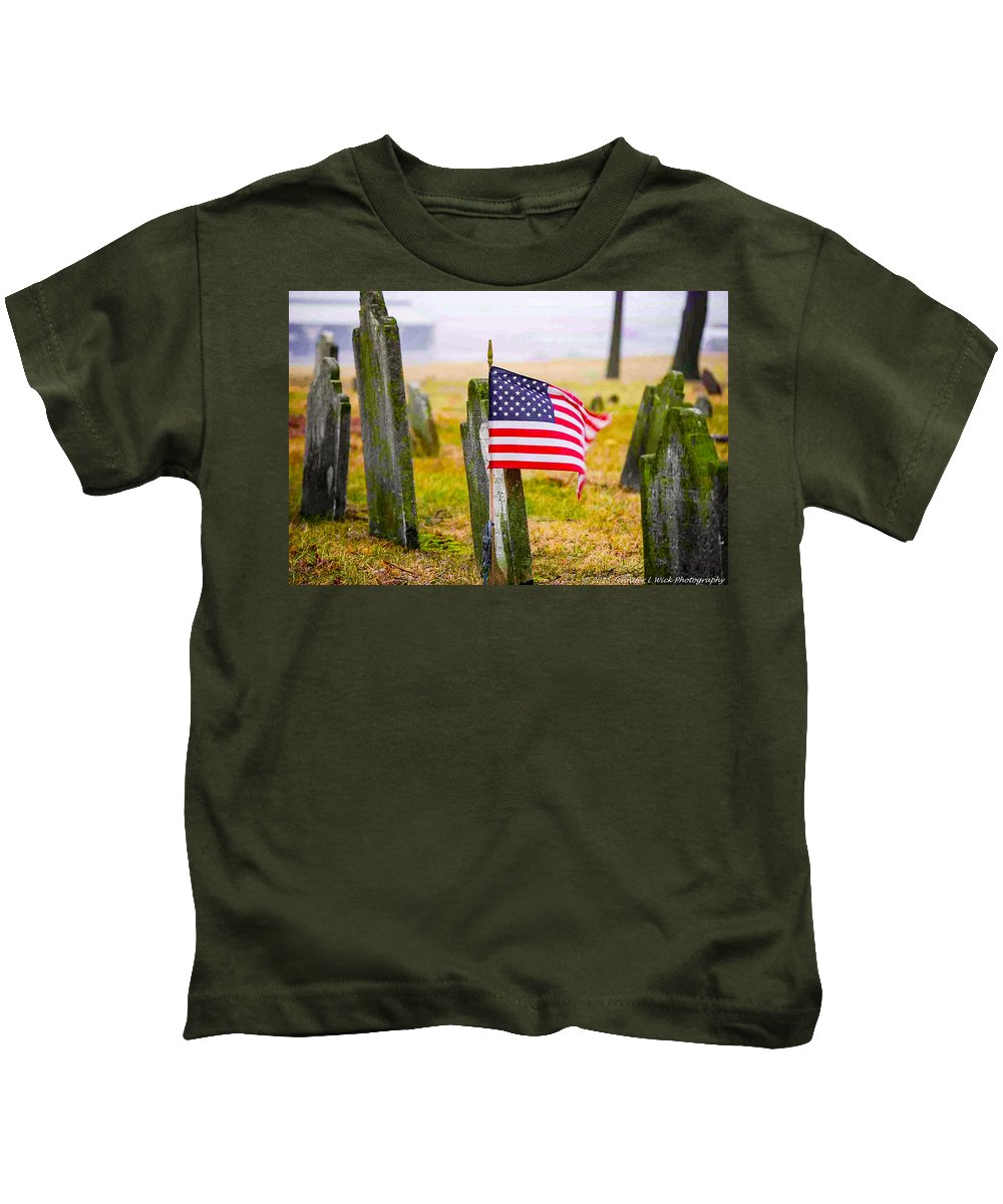 Cemetery Kids T-Shirt featuring the photograph Enriched American Flag - Remember by Jennifer Wick