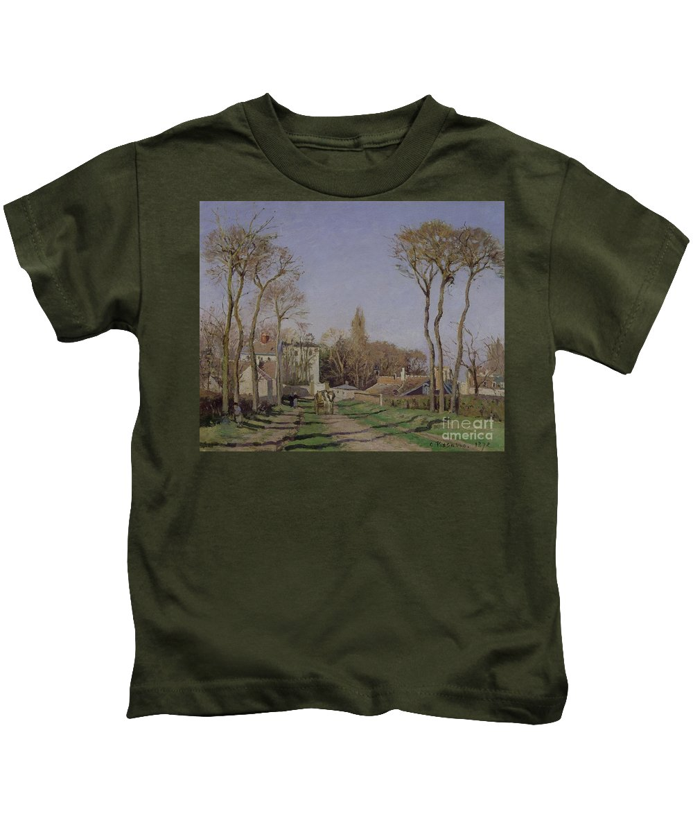 Entrance Kids T-Shirt featuring the painting Entrance To The Village Of Voisins by Camille Pissarro
