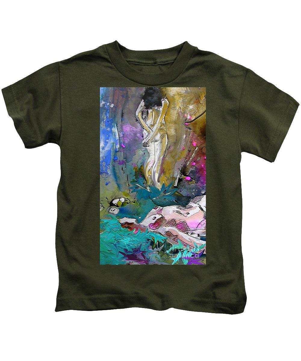 Miki Kids T-Shirt featuring the painting Eroscape 1104 by Miki De Goodaboom