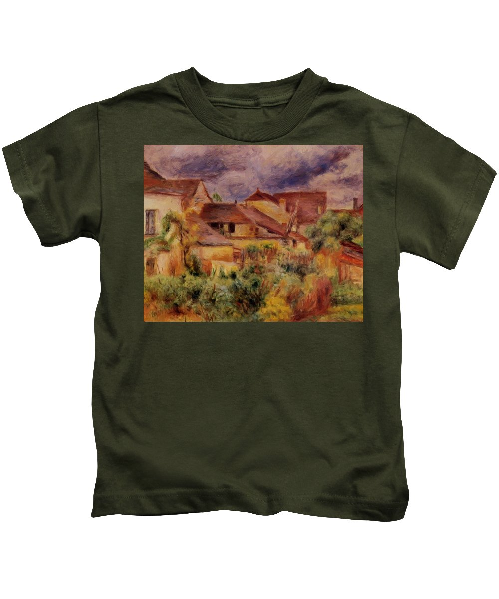 Essoyes Kids T-Shirt featuring the painting Essoyes Landscape 1884 by Renoir PierreAuguste