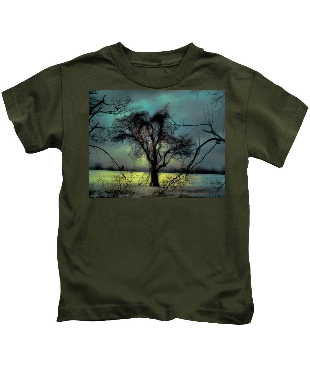 Blue Kids T-Shirt featuring the photograph Ethereal Trees by Gothicrow Images