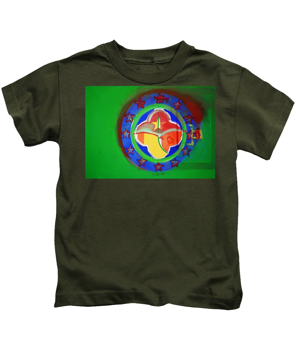 Symbol Kids T-Shirt featuring the painting Euromarine by Charles Stuart