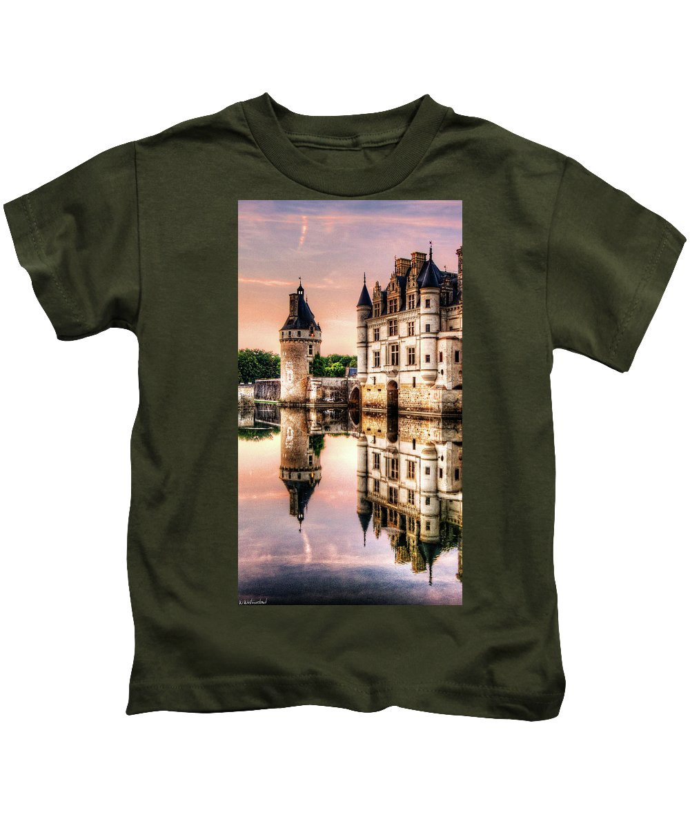 Chenonceau Castle Kids T-Shirt featuring the photograph Evening At Chenonceau Castle by Weston Westmoreland