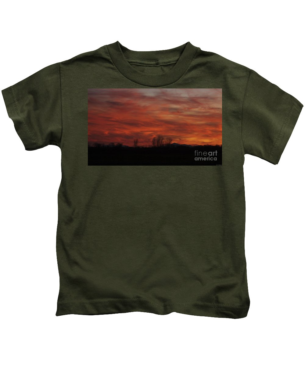 Sunset Kids T-Shirt featuring the photograph Evening In Red by Deborah Benoit