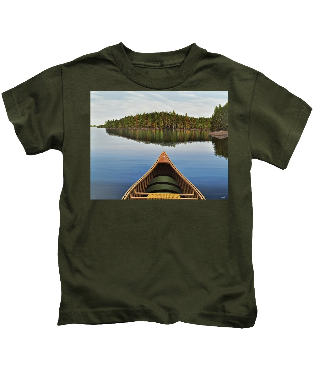 Landscapes Kids T-Shirt featuring the painting Evening Paddle by Kenneth M Kirsch