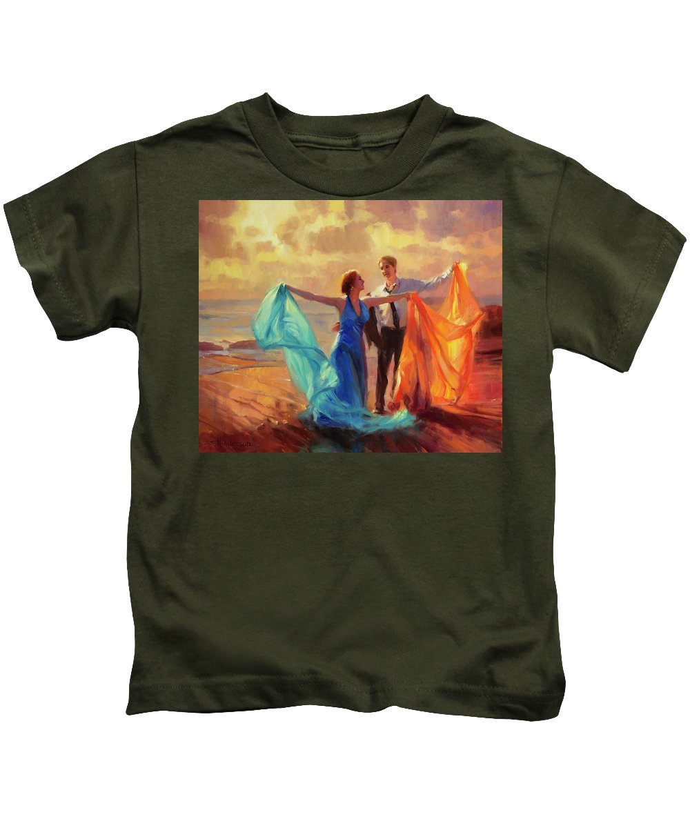 Romance Kids T-Shirt featuring the painting Evening Waltz by Steve Henderson