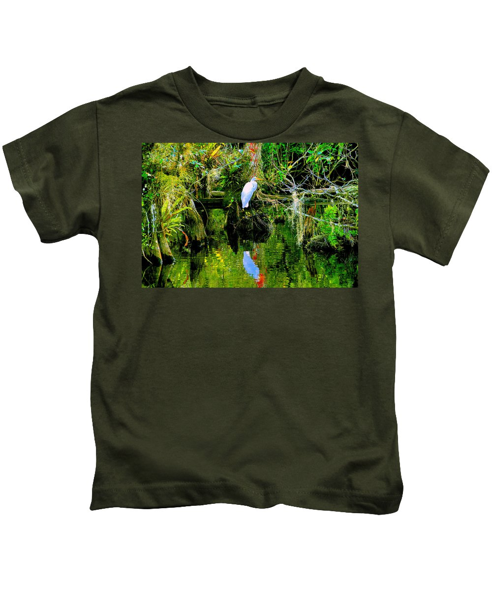 Everglades Kids T-Shirt featuring the painting Everglades Egret by David Lee Thompson