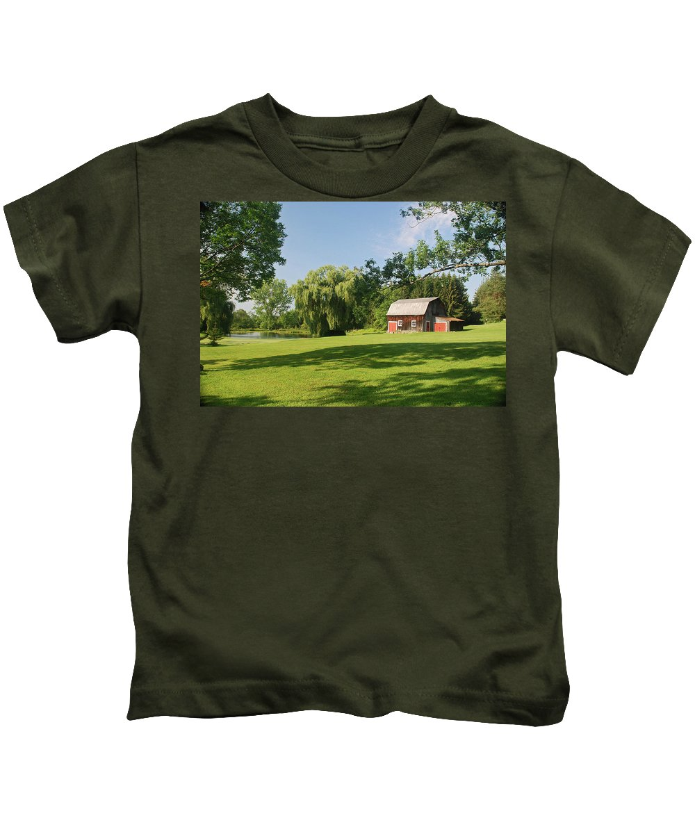 Barn Kids T-Shirt featuring the photograph Evergreen Trails 7525 by Guy Whiteley