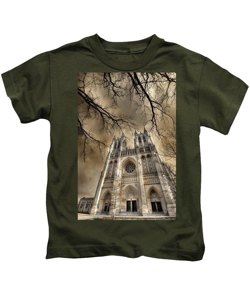 Washington National Cathedral Kids T-Shirt featuring the photograph Evil Arms by Lori Deiter
