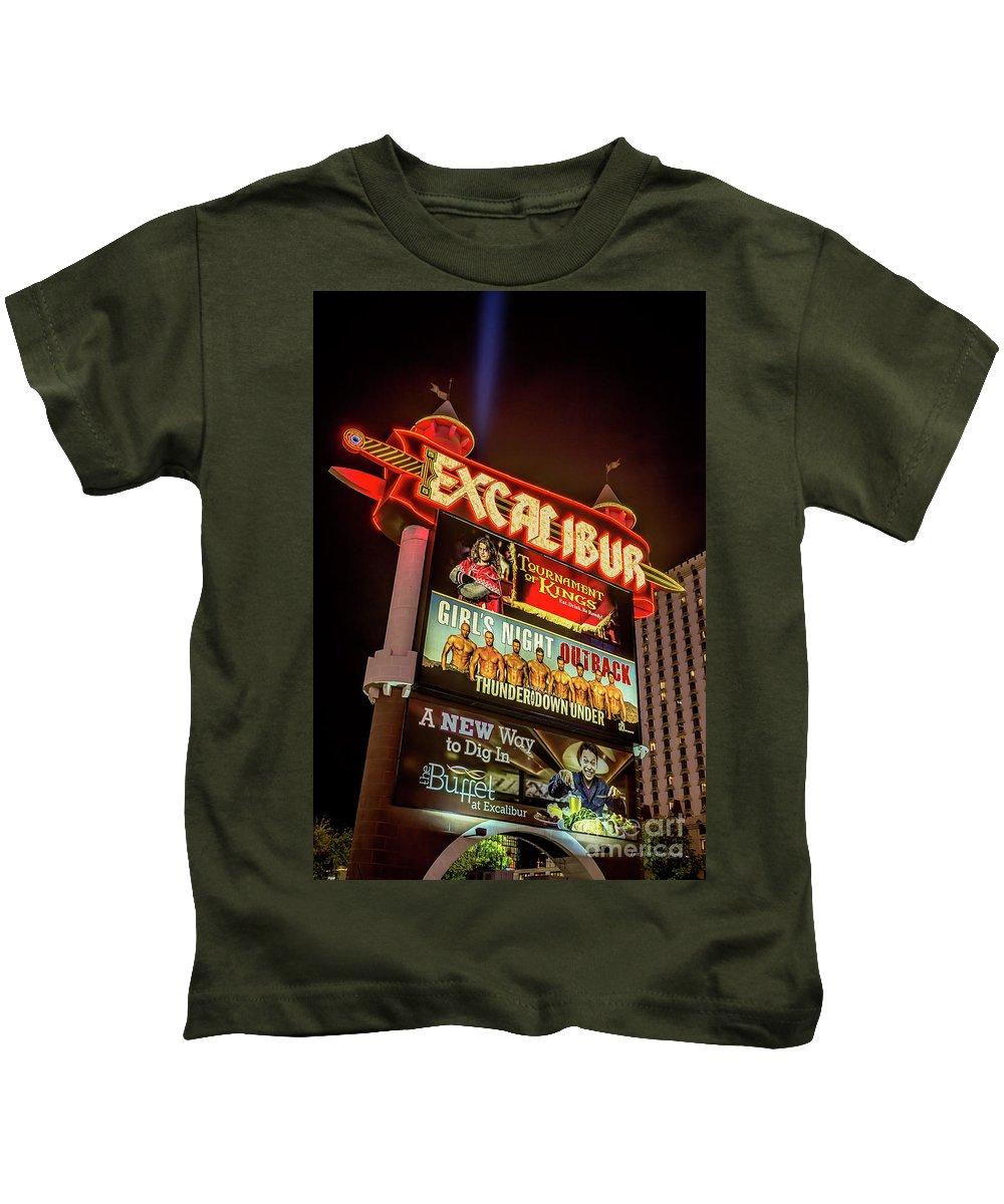 Excalibur Casino Sign Kids T-Shirt featuring the photograph Excalibur Casino Sign Night by Aloha Art