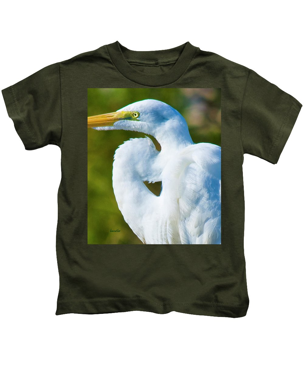 Great White Egret Kids T-Shirt featuring the photograph Eye-catching by Betsy Knapp