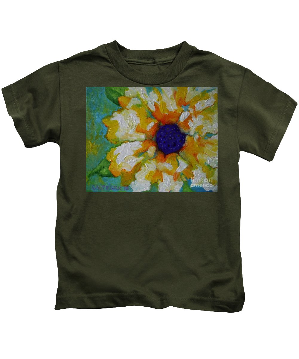 Flower Kids T-Shirt featuring the painting Eye Of The Flower by Alison Caltrider