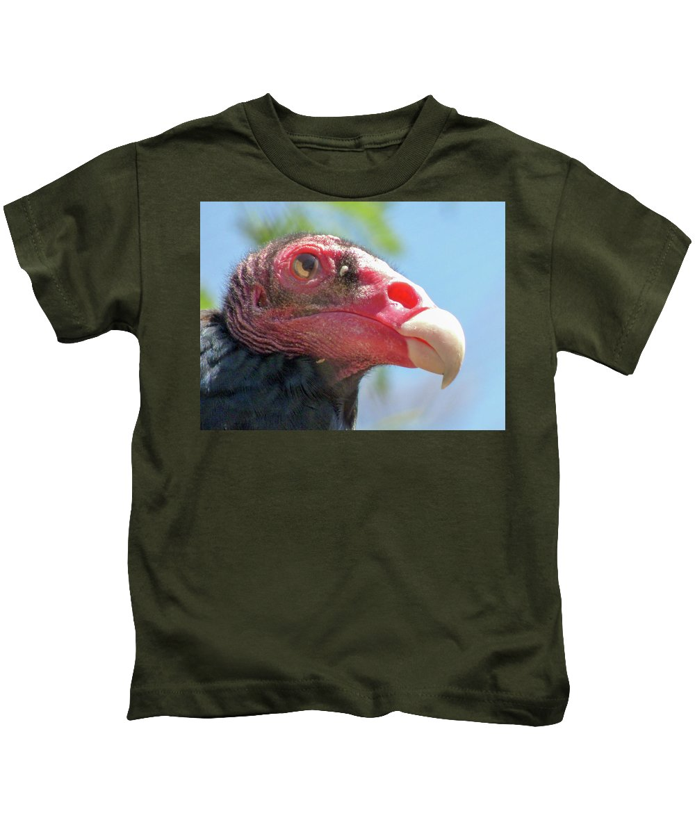 #orcinusfotograffy #arizona #phoenix #zoo #turkey #vulture #profile #beak #eye #nature #colors #animal Kids T-Shirt featuring the photograph Eyeing The World by Kimo Fernandez
