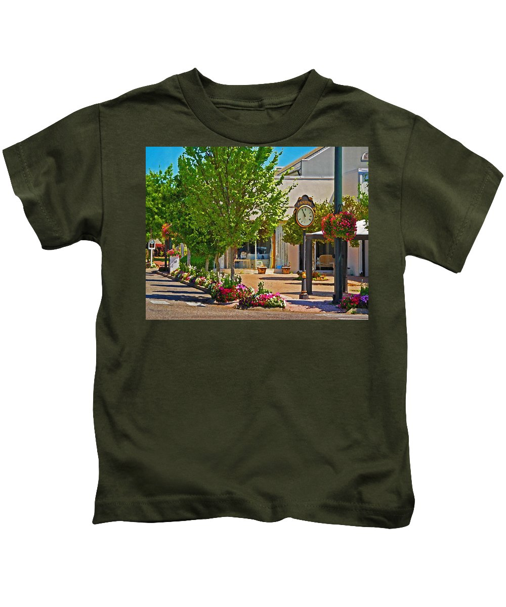 Fairhope Kids T-Shirt featuring the painting Fairhope Ave With Clock Looking North Up Section Street by Michael Thomas