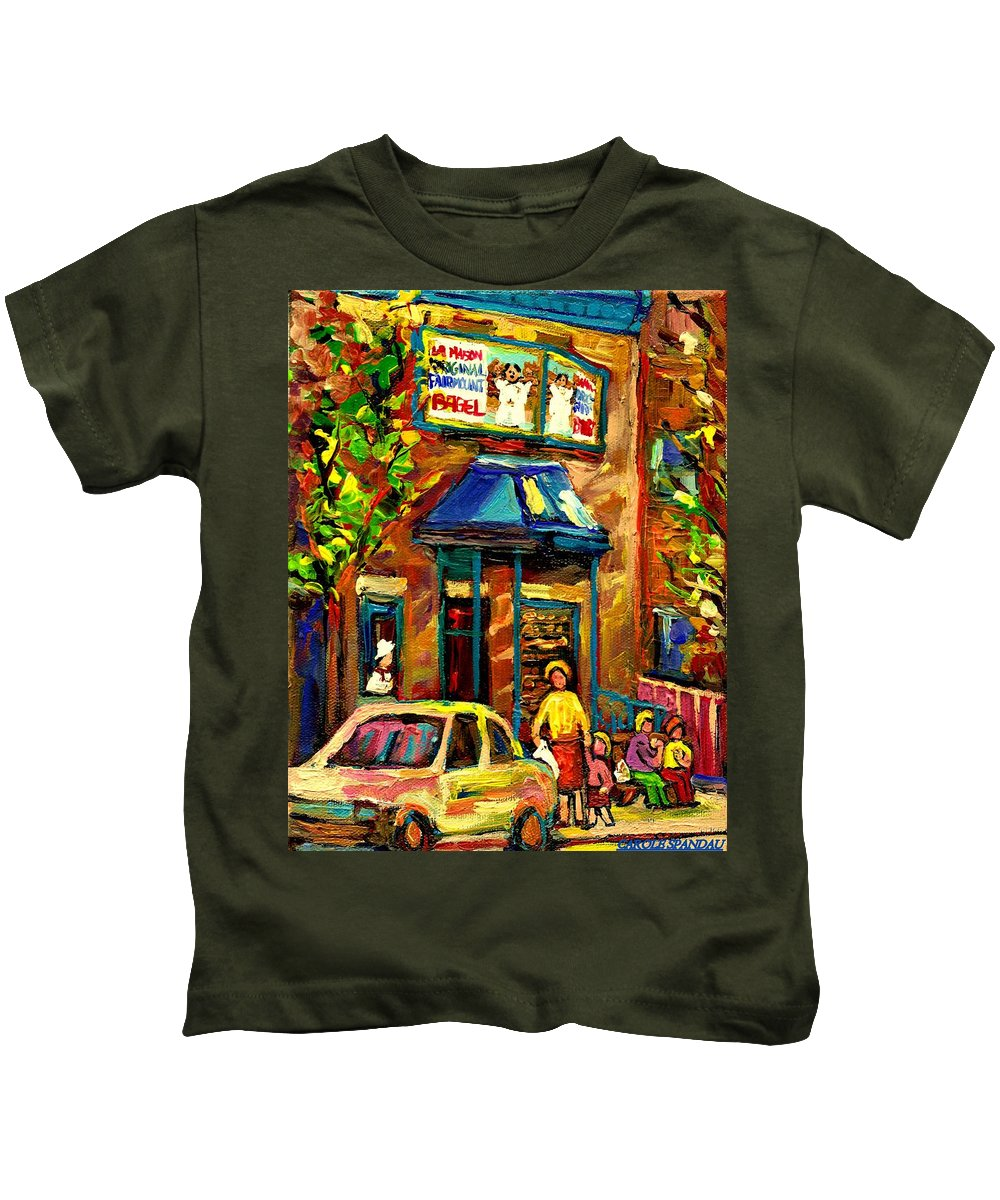 Fairmount Bagel Kids T-Shirt featuring the painting Fairmount Bagel In Montreal by Carole Spandau