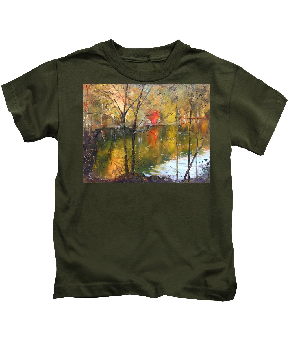 Landscape Kids T-Shirt featuring the painting Fall 2009 by Ylli Haruni