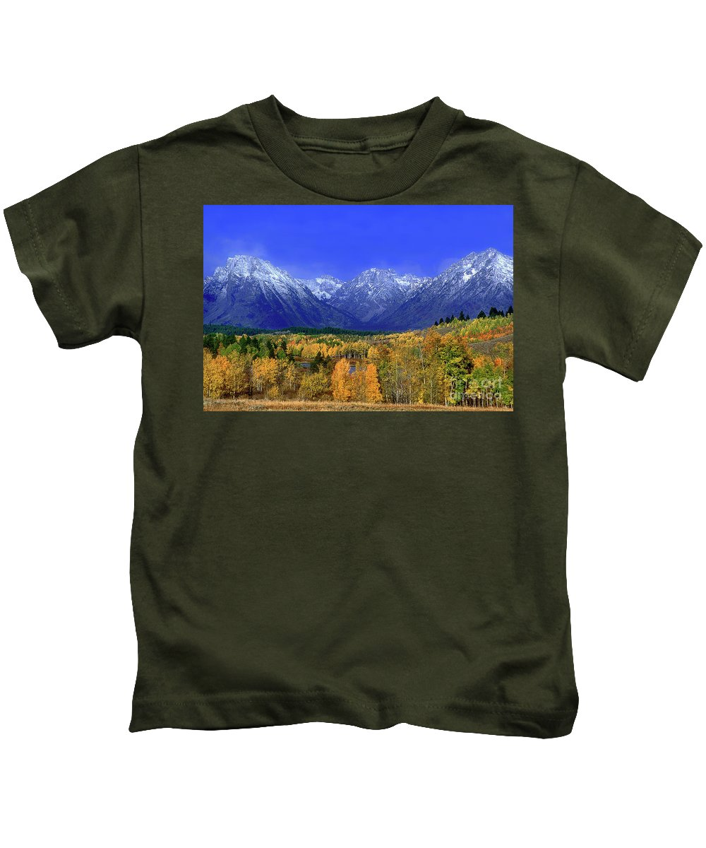 Grand Tetons National Park Kids T-Shirt featuring the photograph Fall Colored Aspens Grand Tetons Np by Dave Welling