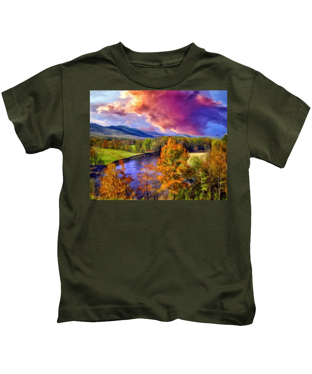 Fall Colors Kids T-Shirt featuring the painting Fall Colors by Dominic Piperata