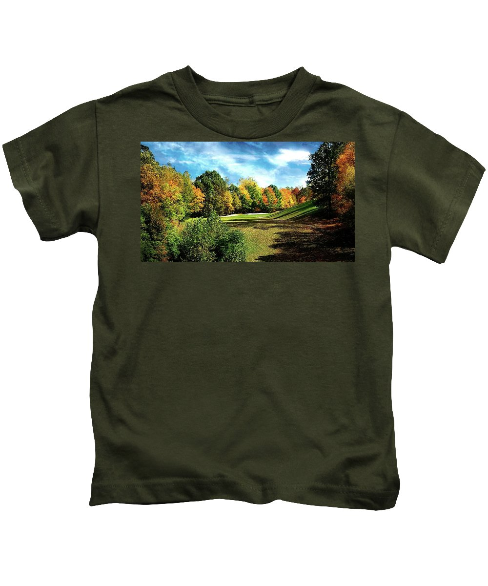 Fall Kids T-Shirt featuring the photograph Fall Golf Course Beauty by Michael Forte