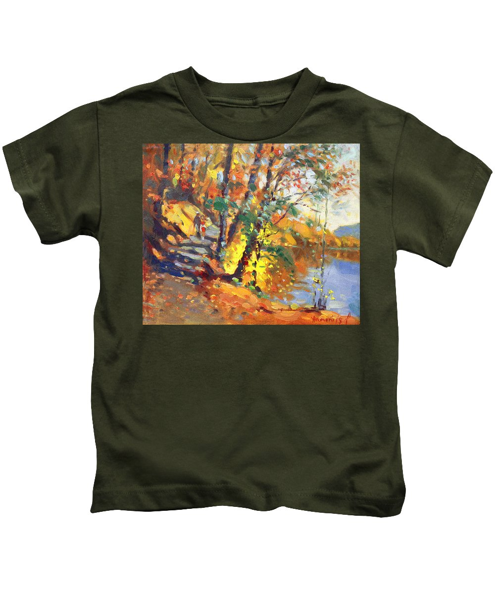 Bear Mountain Ny Kids T-Shirt featuring the painting Fall In Bear Mountain by Ylli Haruni
