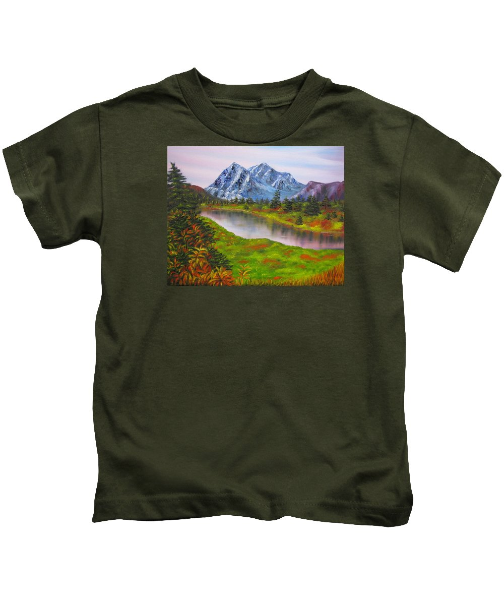 Fall Kids T-Shirt featuring the painting Fall In Mountains Landscape Oil Painting by Natalja Picugina