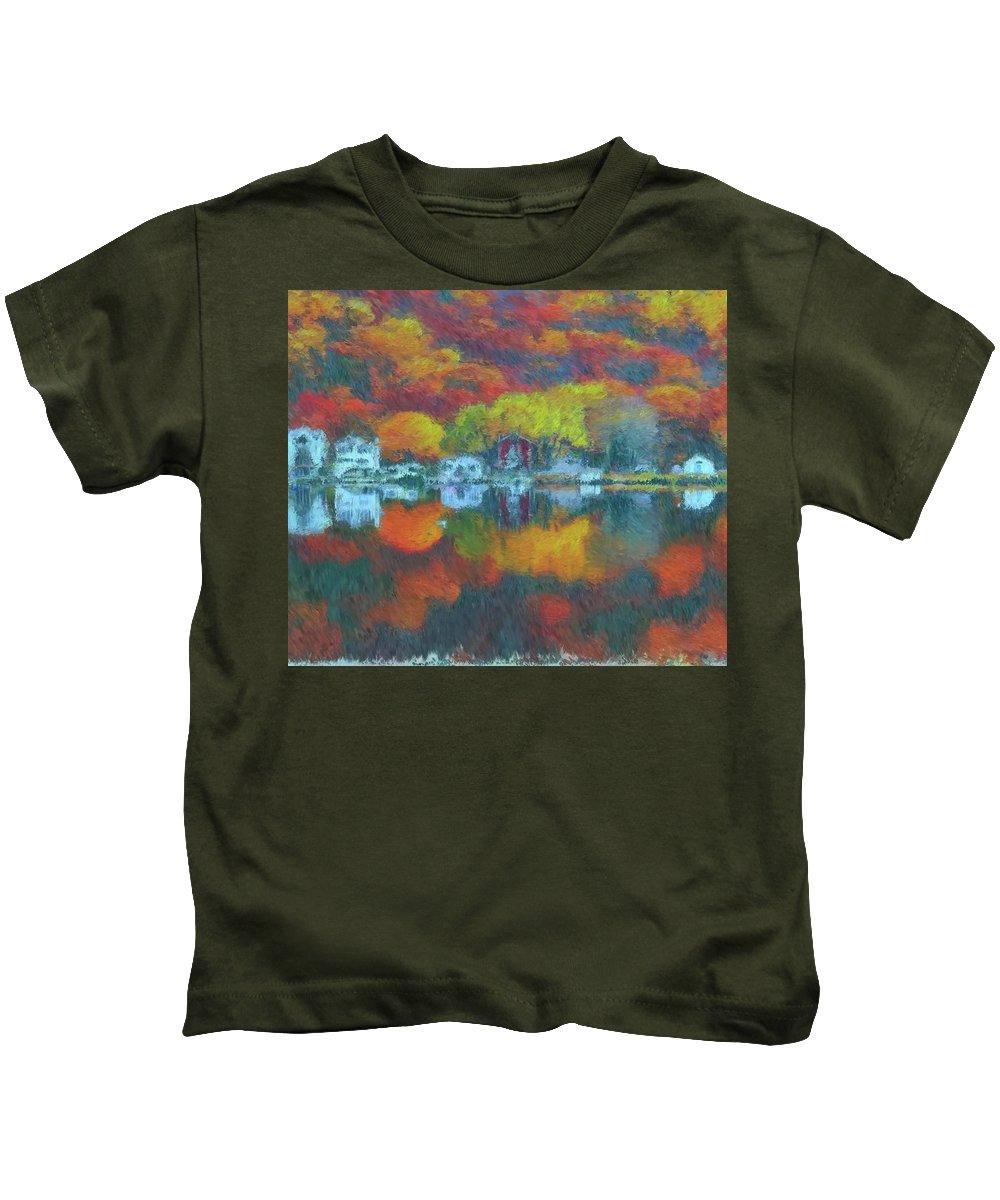 Fall Lake Kids T-Shirt featuring the painting Fall Lake by Harry Warrick