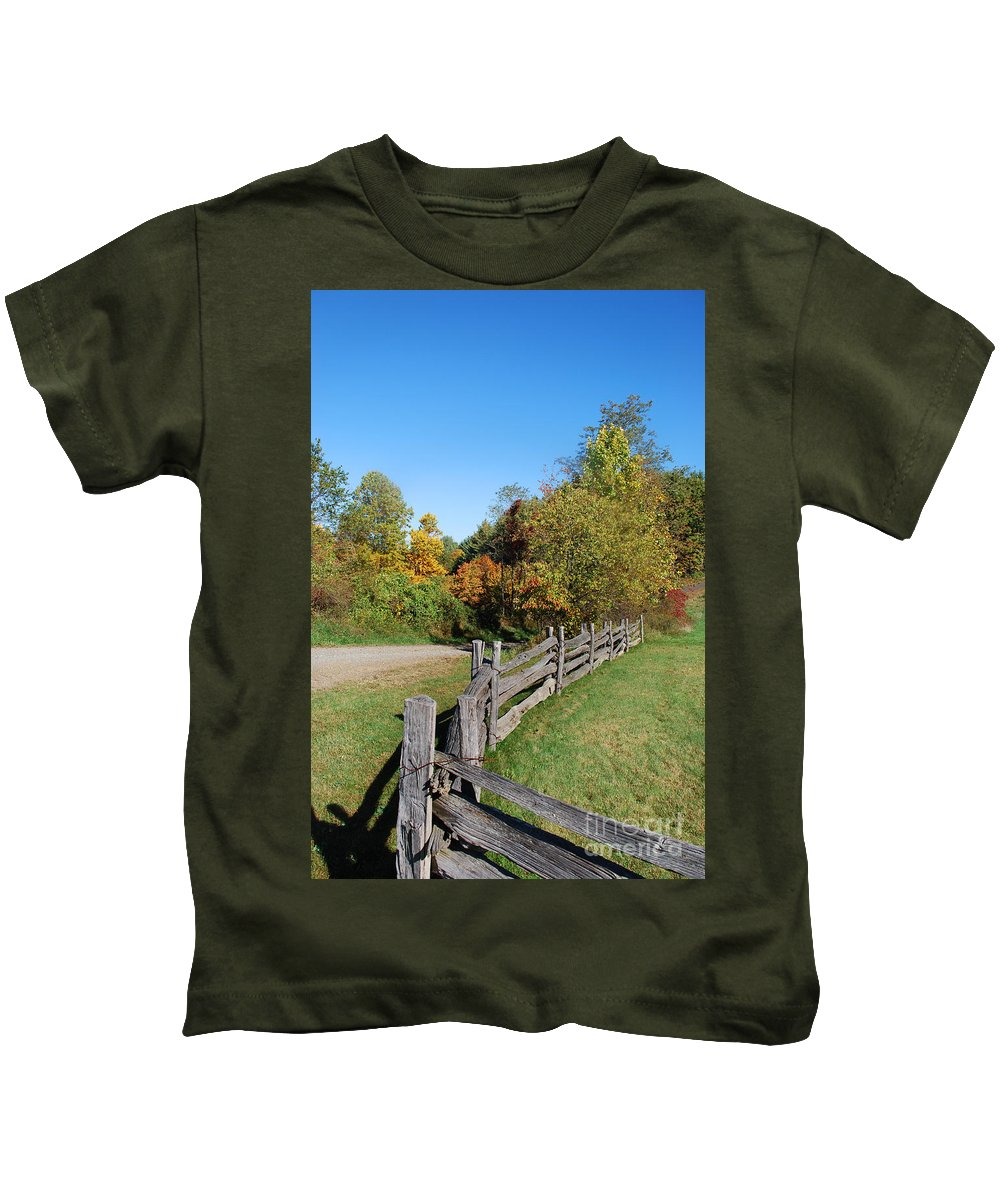 Scenic Tours Kids T-Shirt featuring the photograph Fall On The Farm by Skip Willits