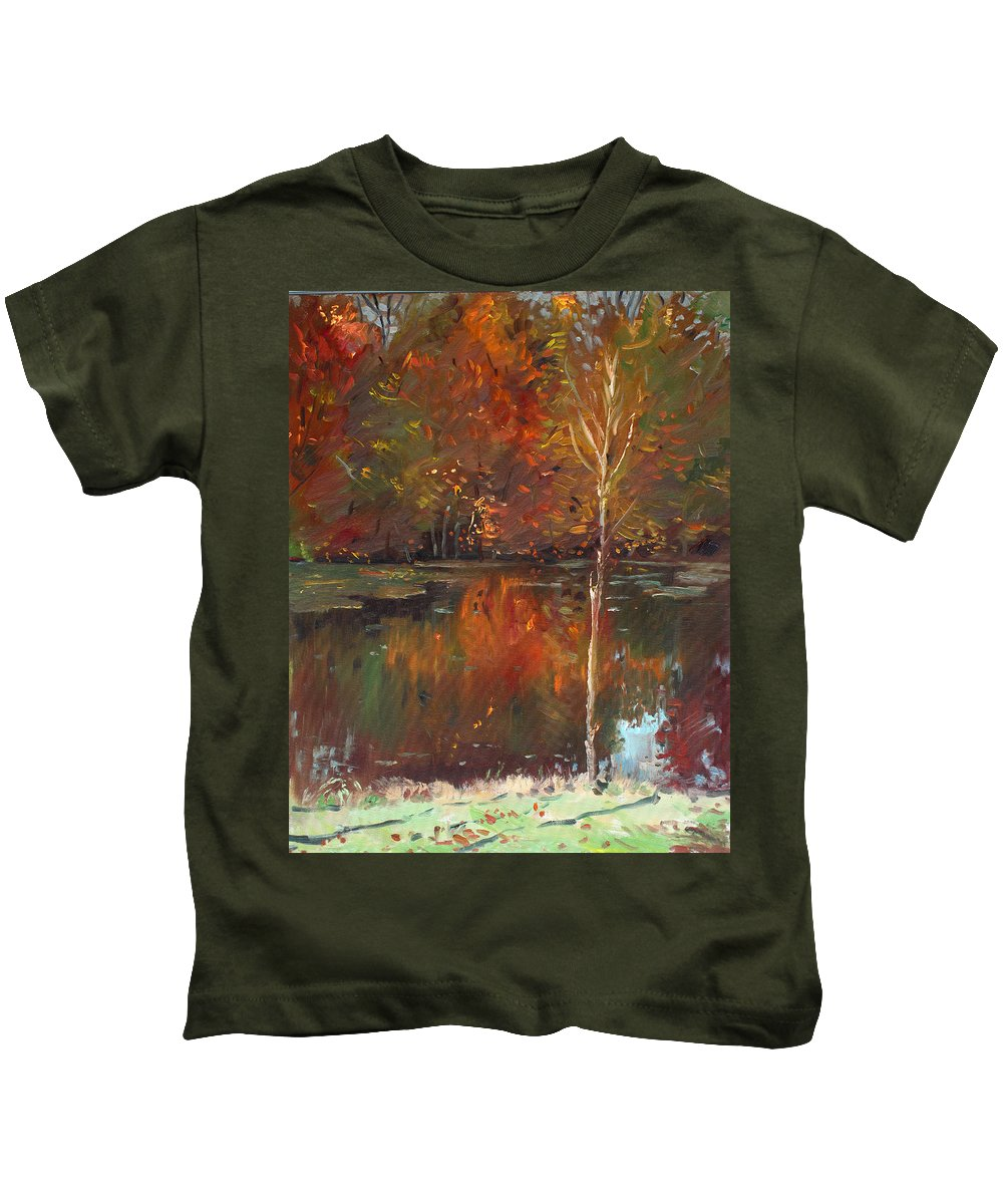 Landscape Kids T-Shirt featuring the painting Fall Reflection by Ylli Haruni