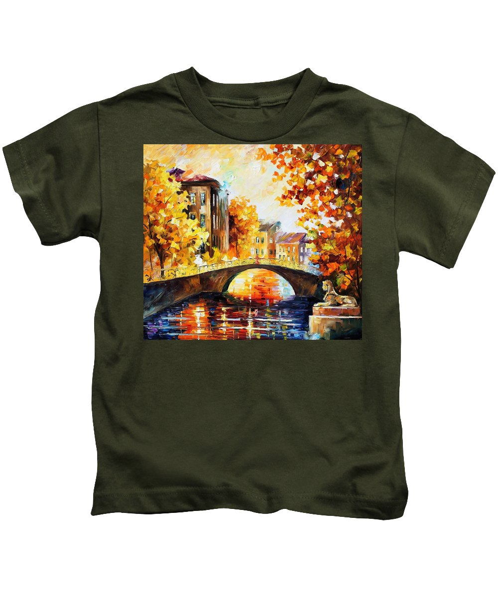 Afremov Kids T-Shirt featuring the painting Fall River Bridge by Leonid Afremov