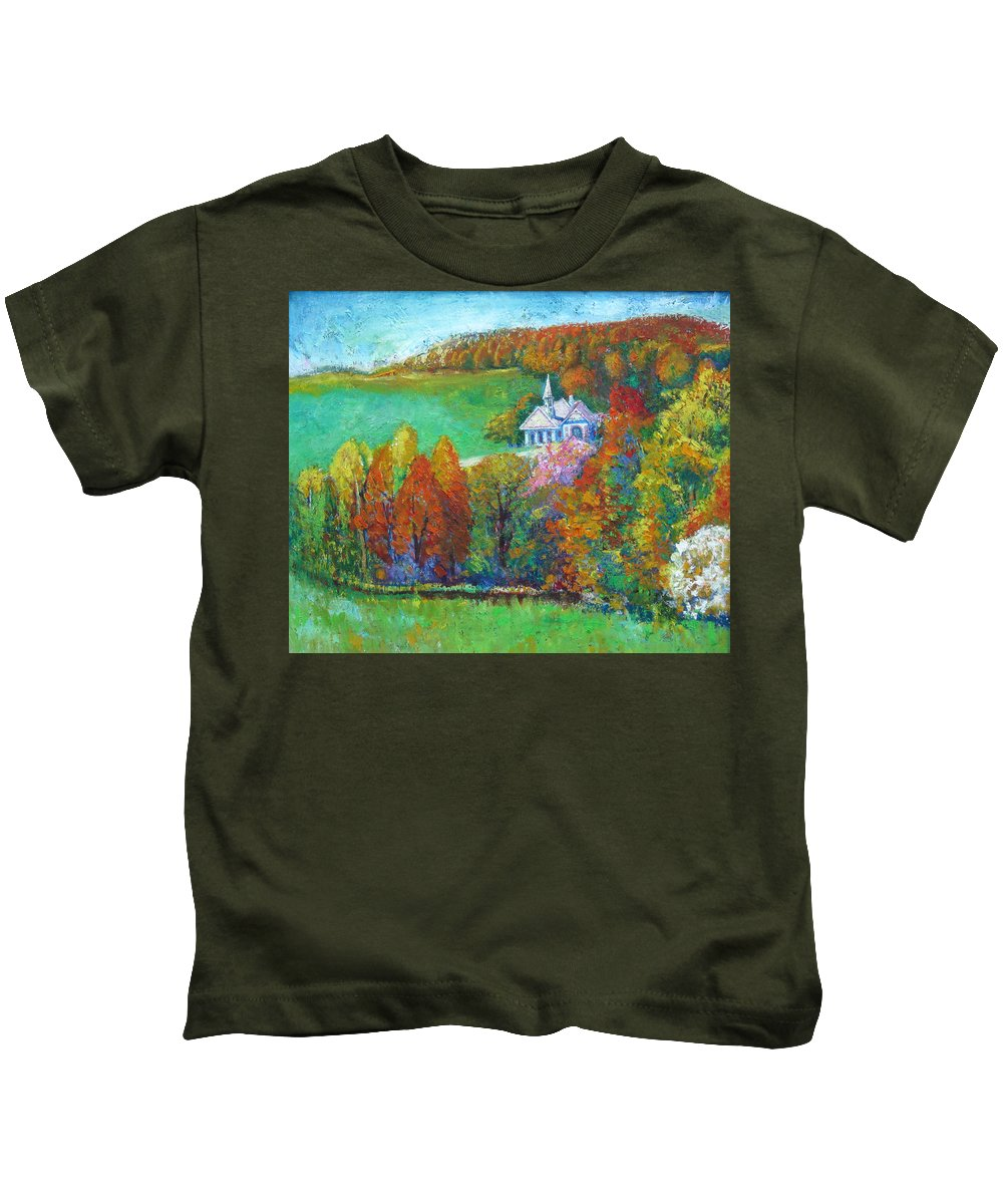 Fall Kids T-Shirt featuring the painting Fall Scene by Meihua Lu