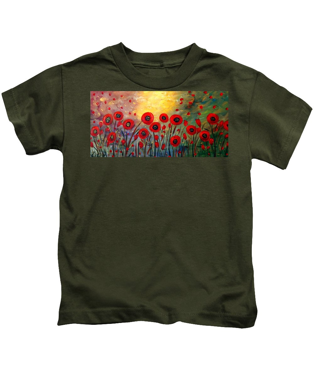 Flowers Kids T-Shirt featuring the painting Fall Time Poppies by Luiza Vizoli