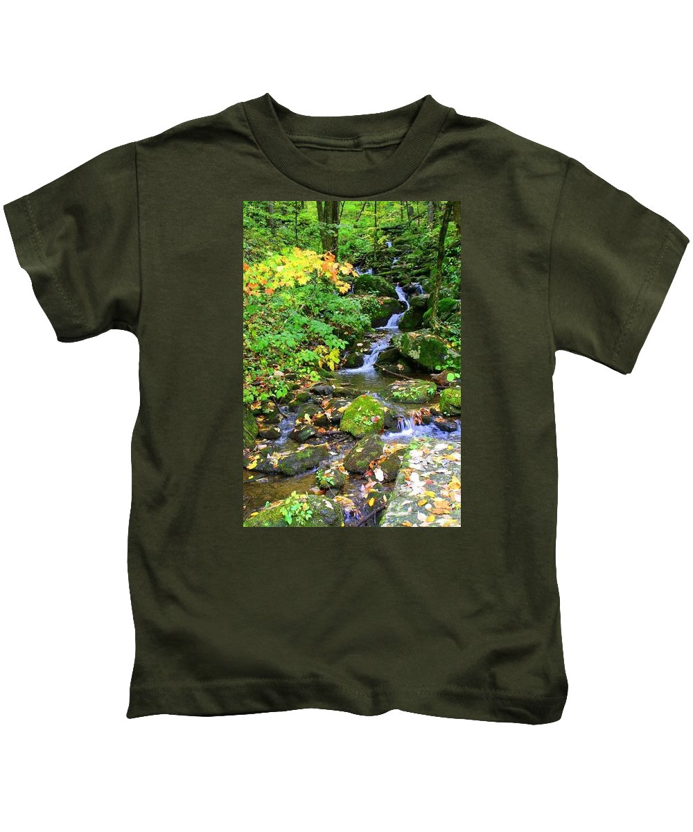 Mountain Kids T-Shirt featuring the photograph Fall Waterfall by Denisse Stanbery