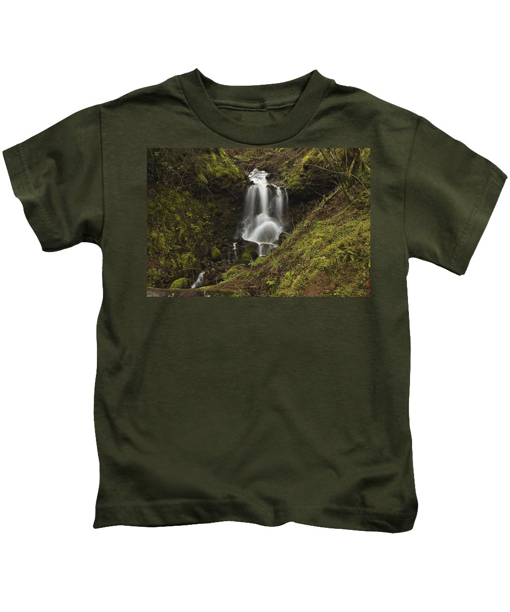 Waterfall Kids T-Shirt featuring the photograph Falling Water by Hans Franchesco