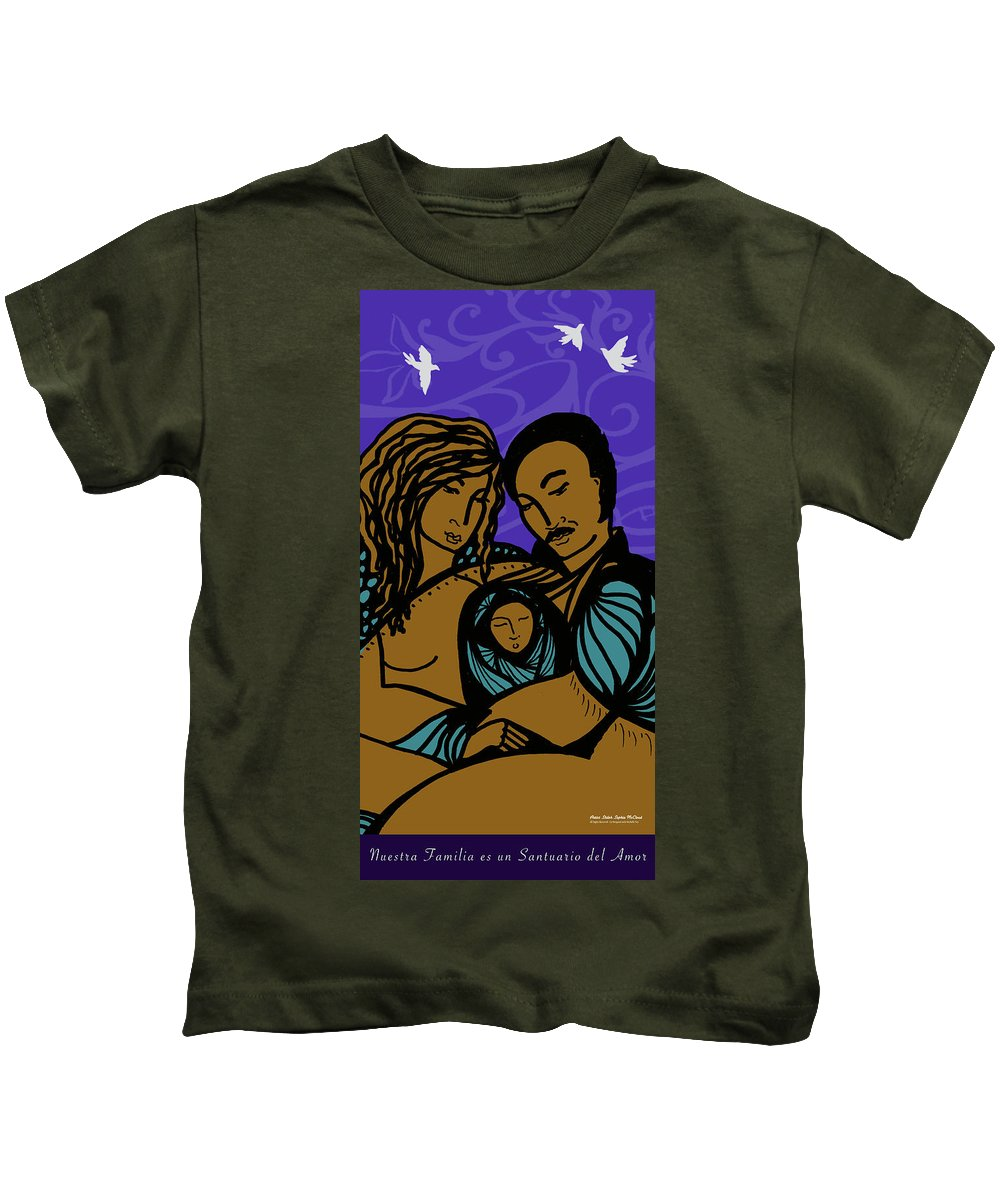 Kids T-Shirt featuring the digital art Family Is A Sanctuary by Shiloh Sophia McCloud