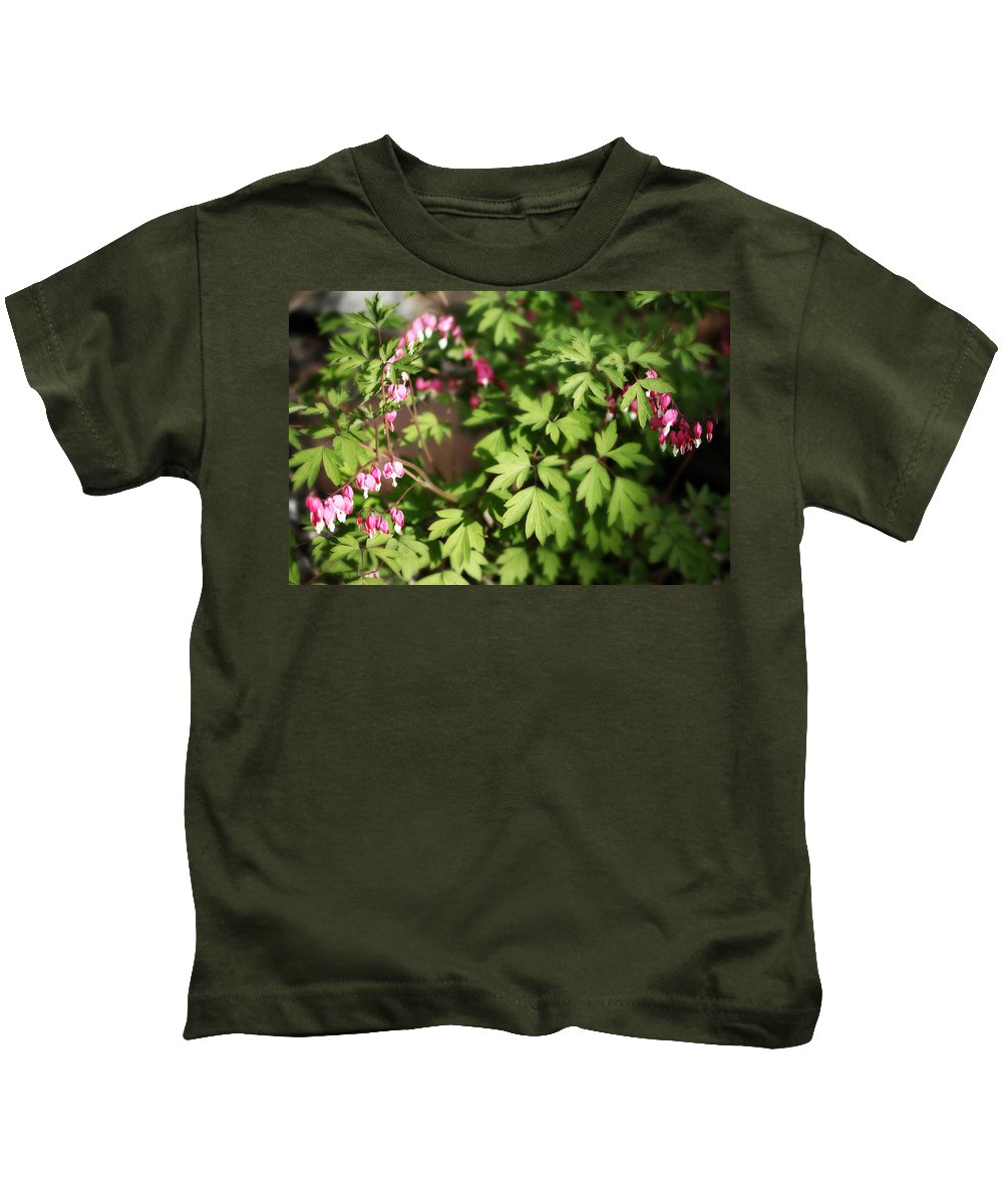 Flower Kids T-Shirt featuring the photograph Fanciful Bleeding Hearts by Marilyn Hunt