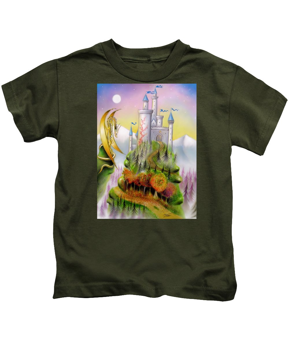Fantasy Kids T-Shirt featuring the mixed media Fantasia by Ilias Patrinos