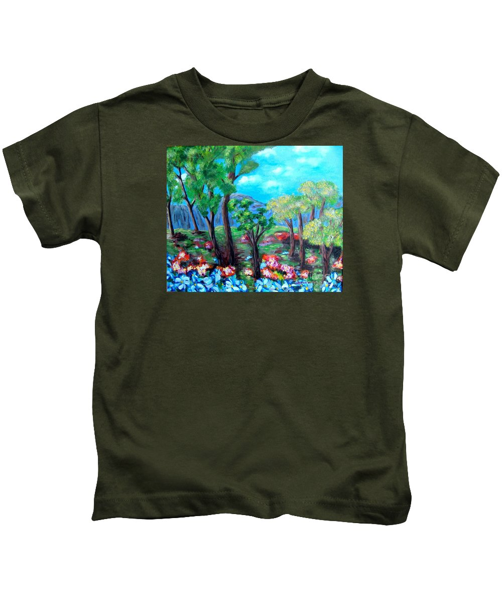 Fantasy Kids T-Shirt featuring the painting Fantasy Forest by Laurie Morgan