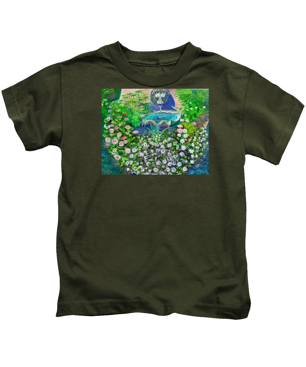 Fountain Kids T-Shirt featuring the painting Fantasy Fountain by Michael Durst