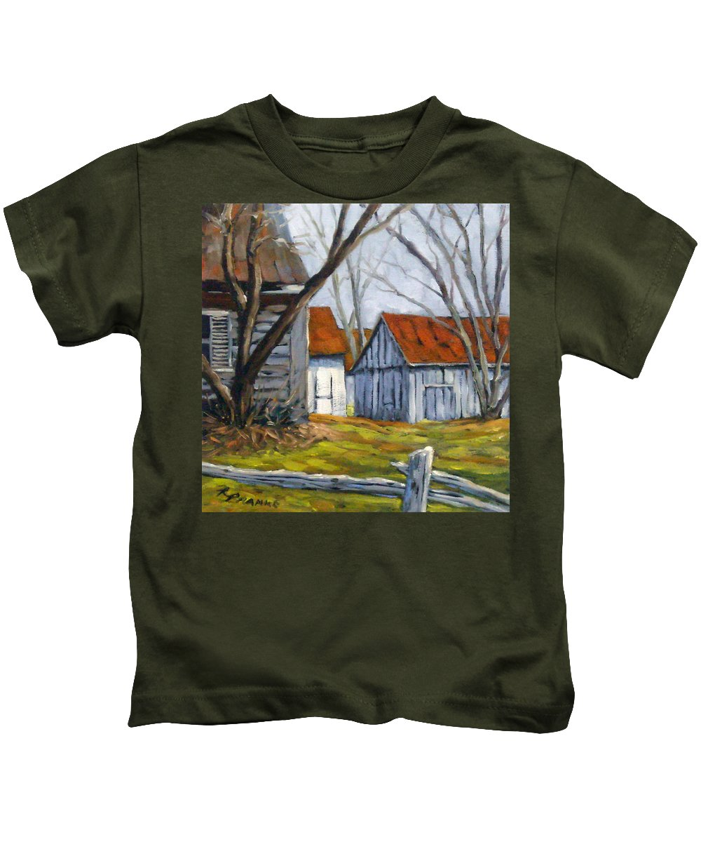Farm Kids T-Shirt featuring the painting Farm In Berthierville by Richard T Pranke