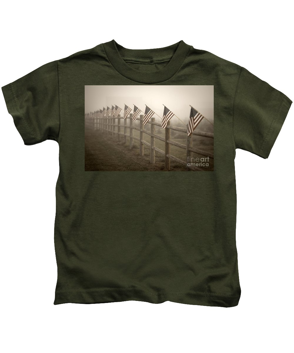 American Flag Kids T-Shirt featuring the photograph Farm With Fence And American Flags by Jim Corwin