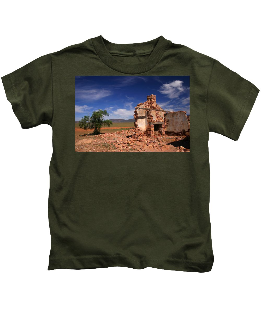 Cottage Kids T-Shirt featuring the photograph Farmhouse Cottage Ruin Flinders Ranges South Australia by Ralph A Ledergerber-Photography