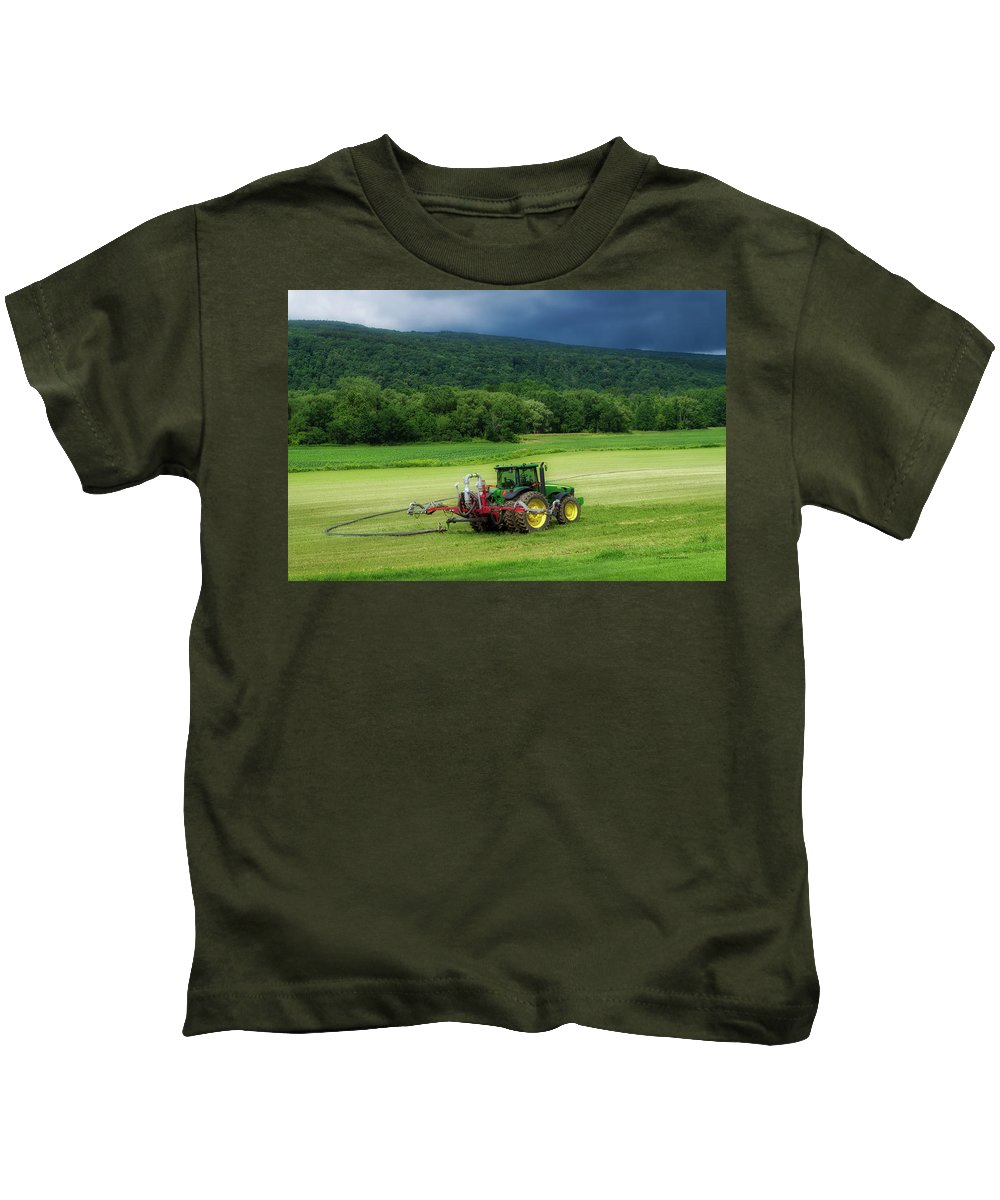 Finger Lakes New York Kids T-Shirt featuring the photograph Farming New York State Before The July Storm 02 by Thomas Woolworth