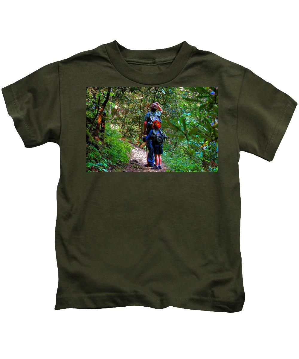 Father Kids T-Shirt featuring the painting Father And Son by David Lee Thompson