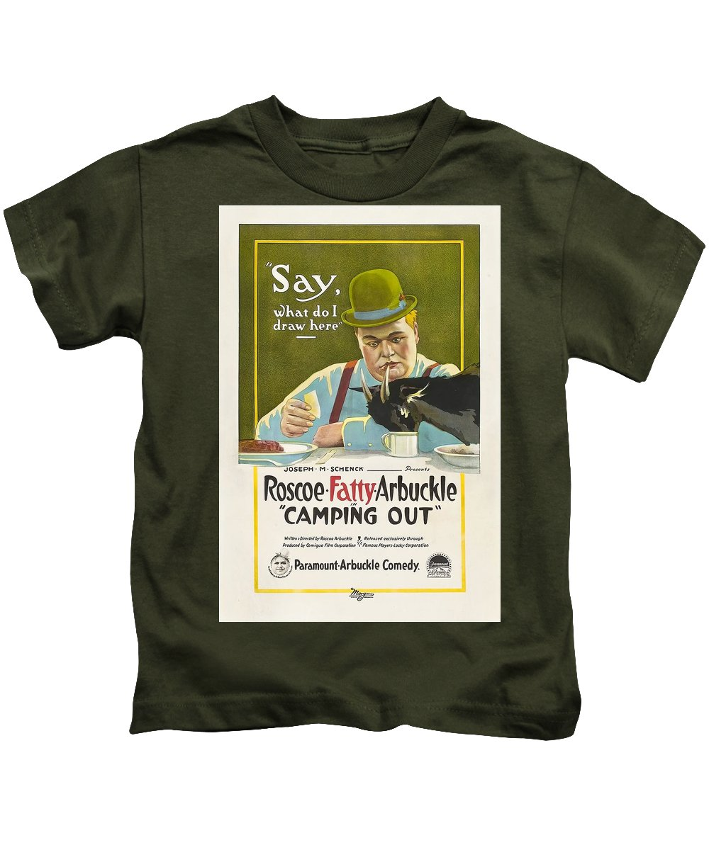 Movie Kids T-Shirt featuring the drawing Fatty Arbuckle In Camping Out 1919 by Mountain Dreams