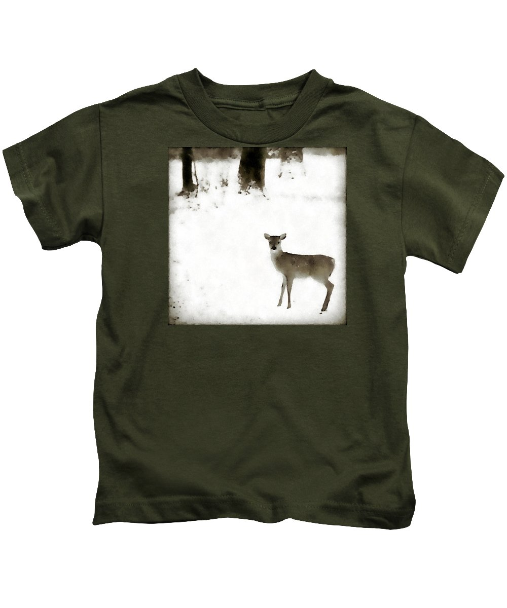 Fawn Kids T-Shirt featuring the photograph Fawn In The Snow by Allan Janus