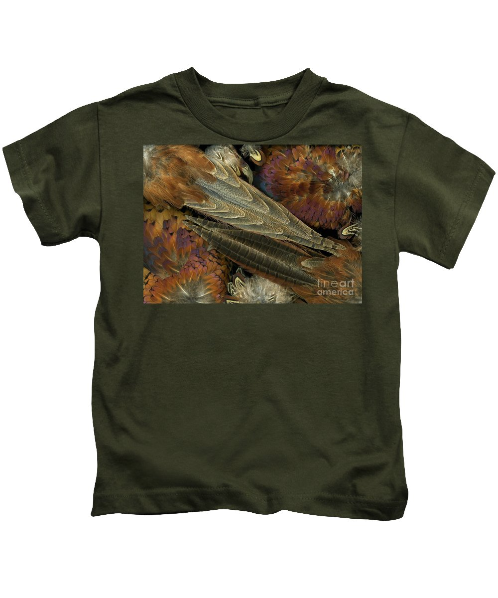 Pheasant Kids T-Shirt featuring the photograph Featherdance by Christian Slanec